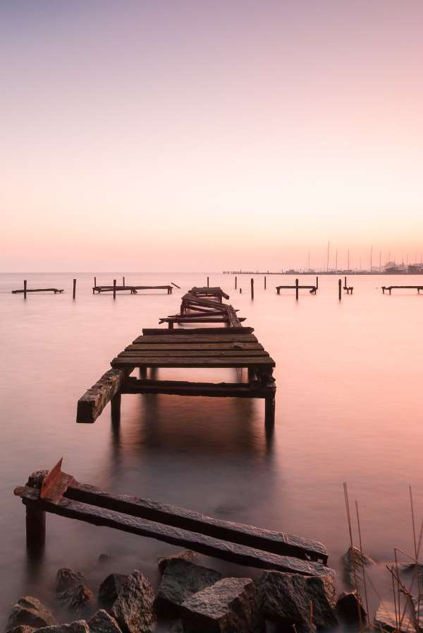 Broken Dock at Sunset